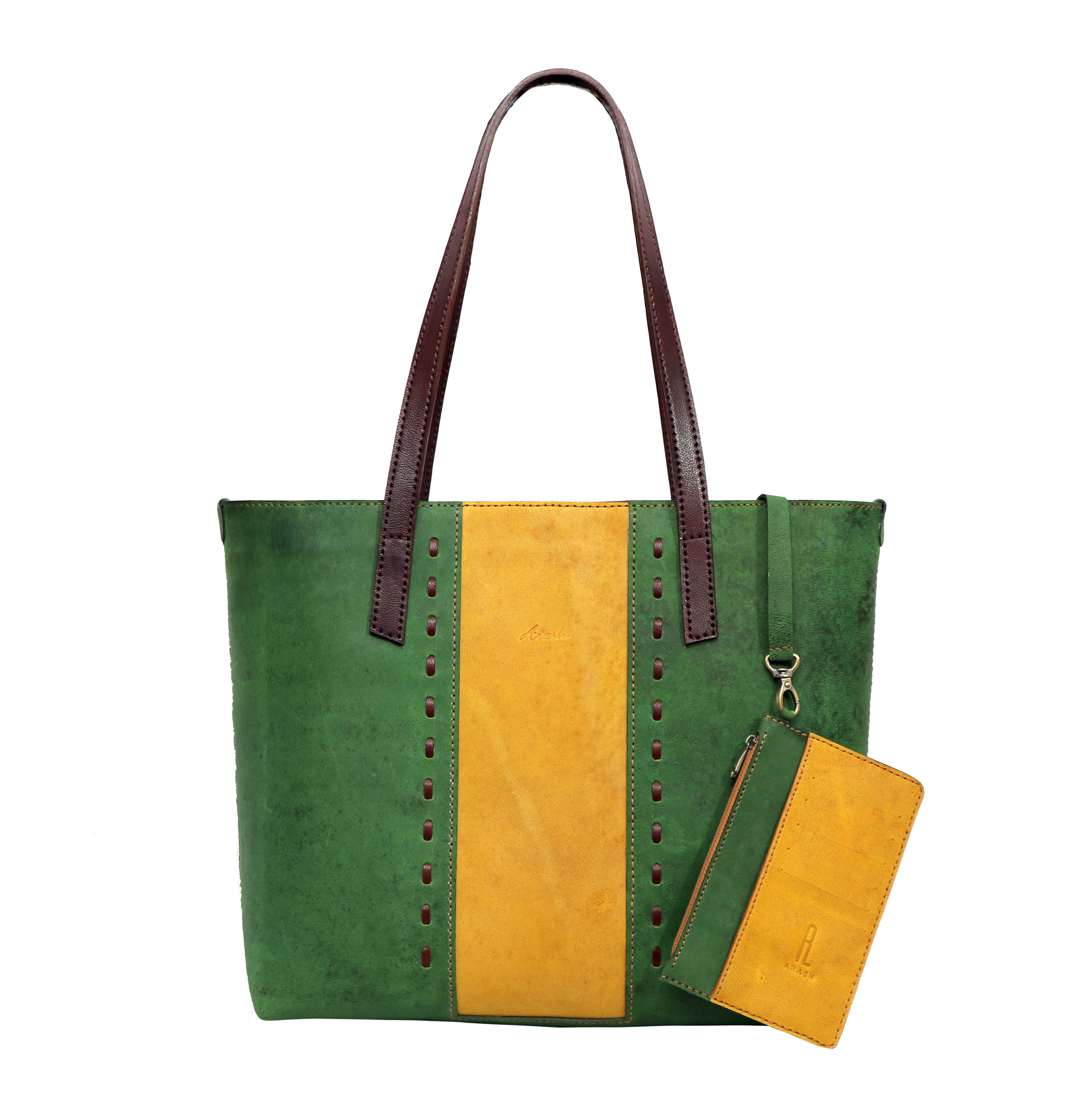 Marjan Green & Yellow Tote Bag