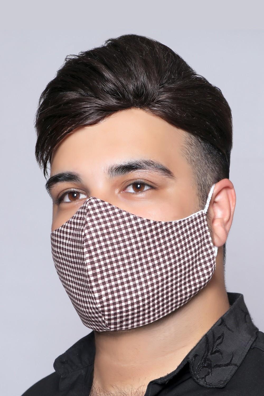 Brown Squares - 100% Cotton Washable Mask