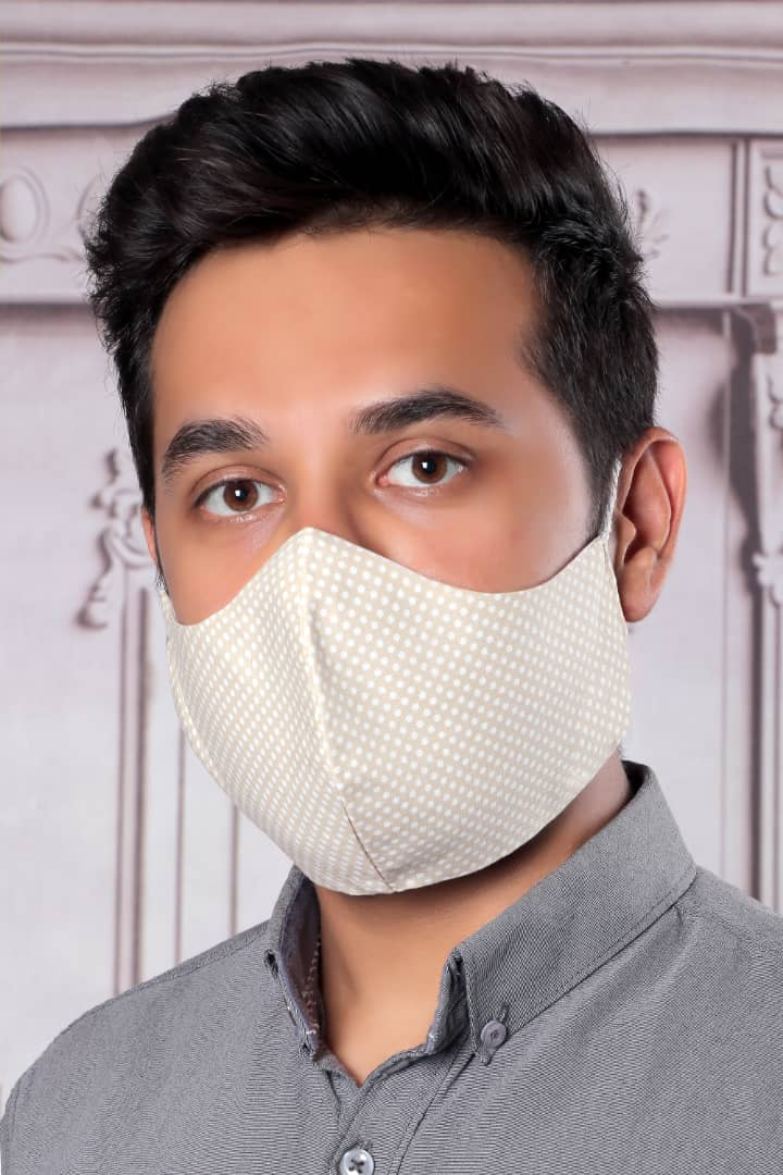 Cream With White Circles - 100% Cotton Washable Mask