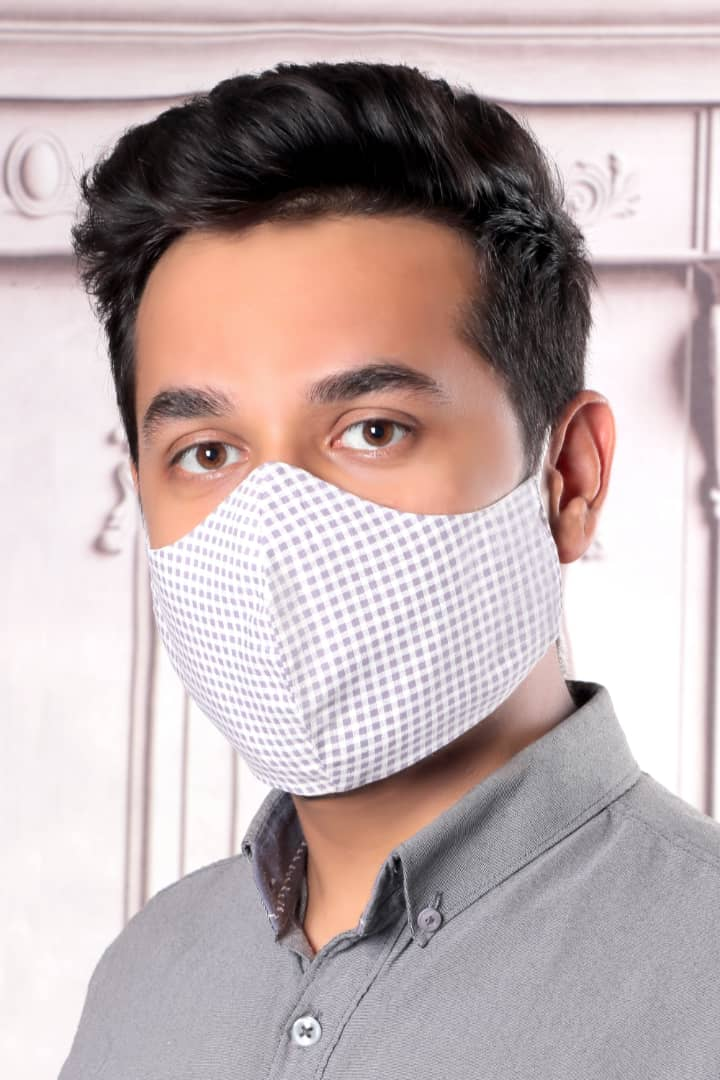 Light Gray Squares - 100% Cotton Washable Mask