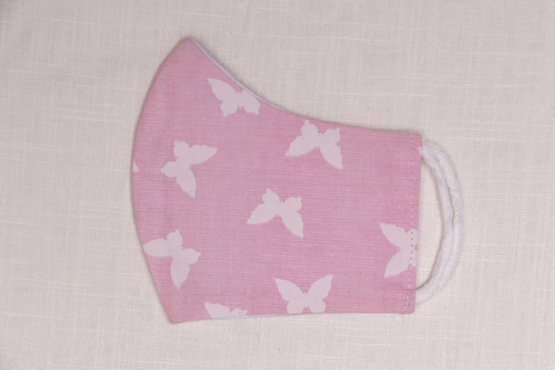 Pink With Butterflies - 100% Cotton Washable Mask