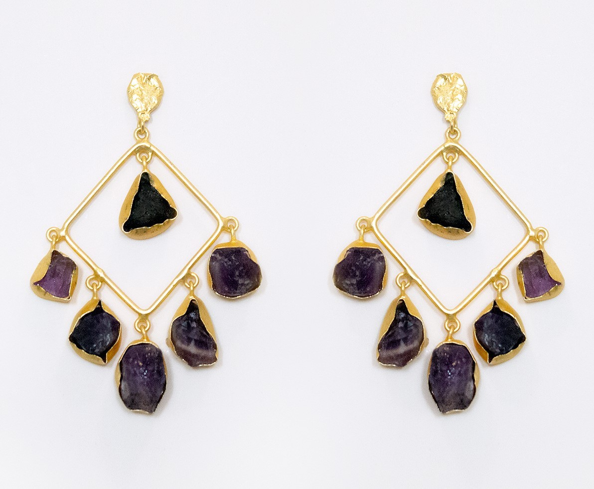 Laila Earrings - Amethyst