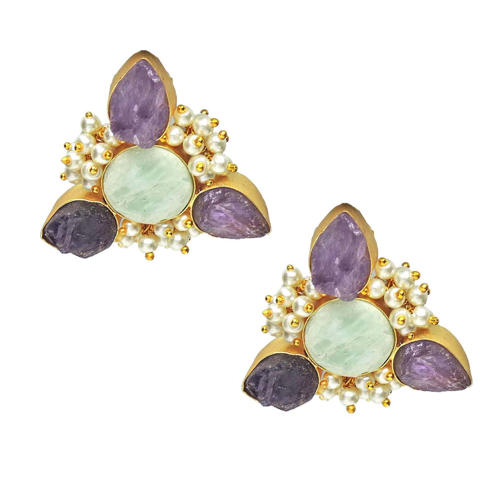 Amethyst, Amazonite, Pearl Earrings