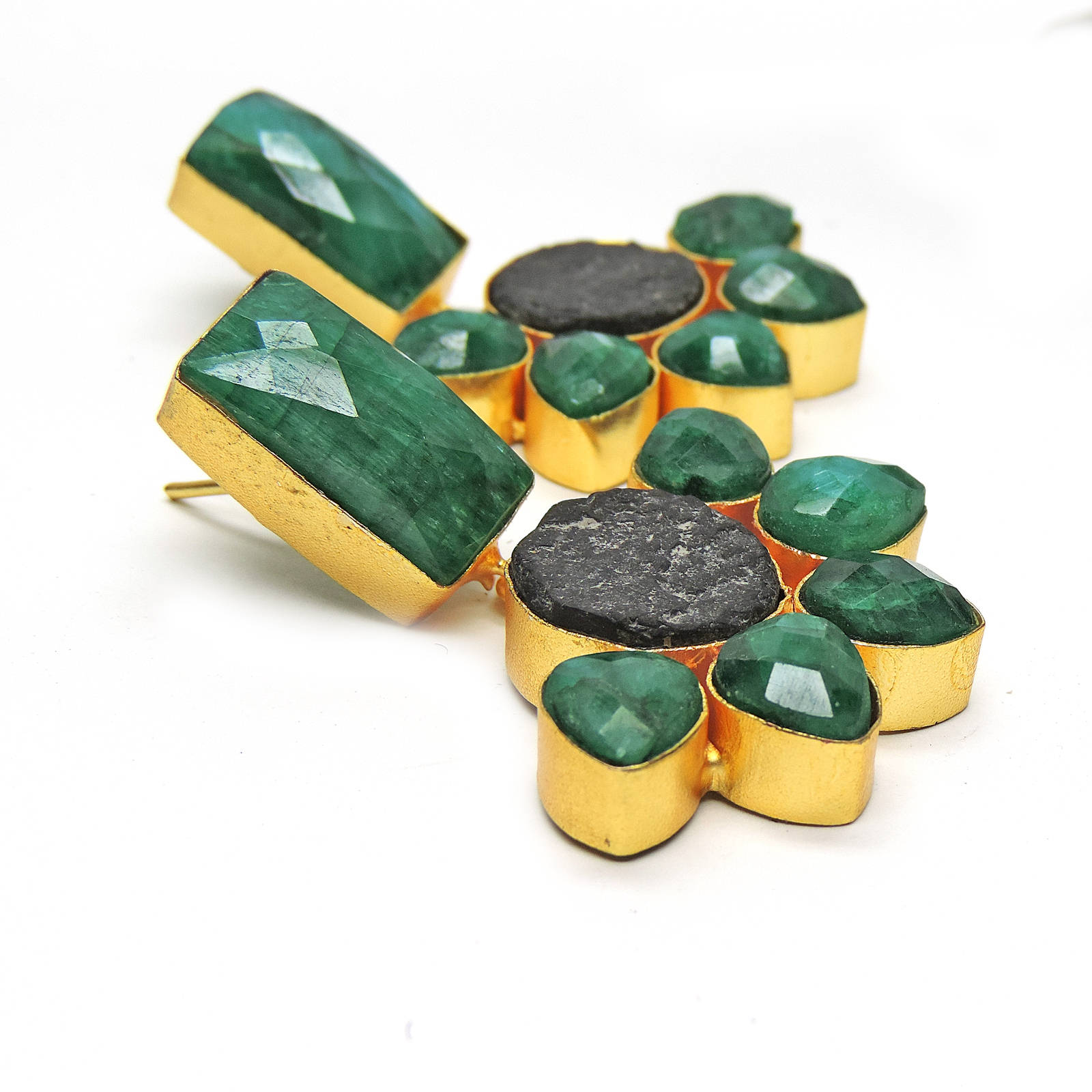 Emerald, Obsidian Earrings