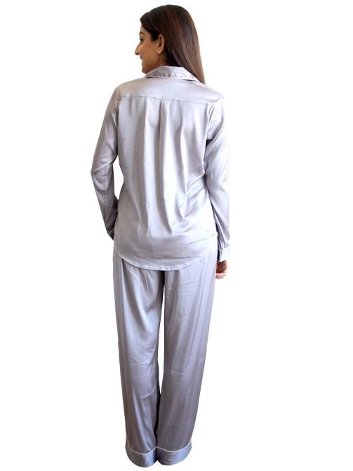 Grey Silk Classic PJ Set