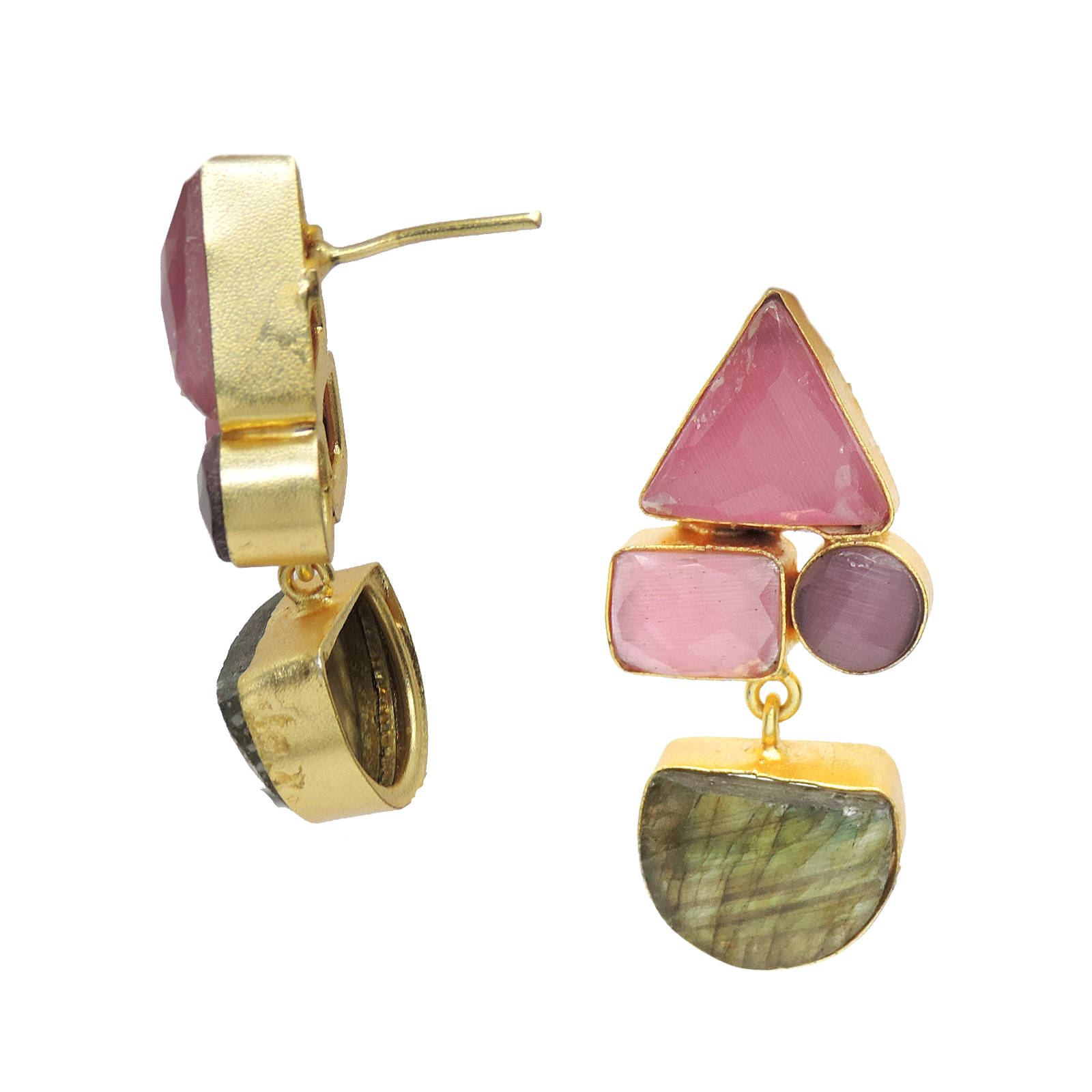 Labradorite, Monalisa stone Earrings