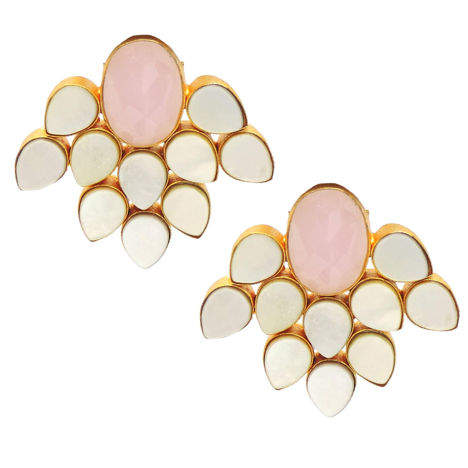 Rose Quartz, Mother of Pearl Earrings