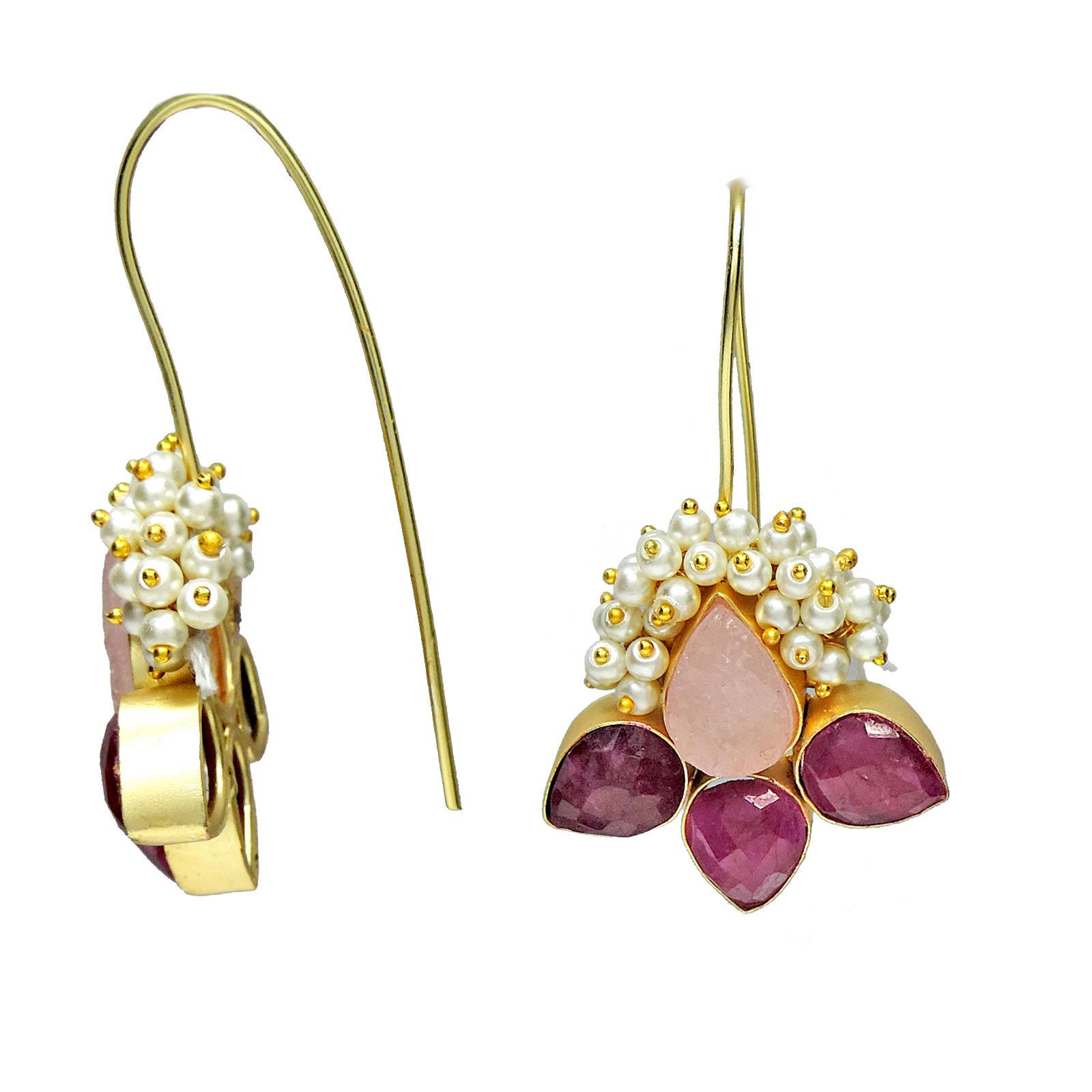 Ruby, Rose Quartz, Pearl Earrings
