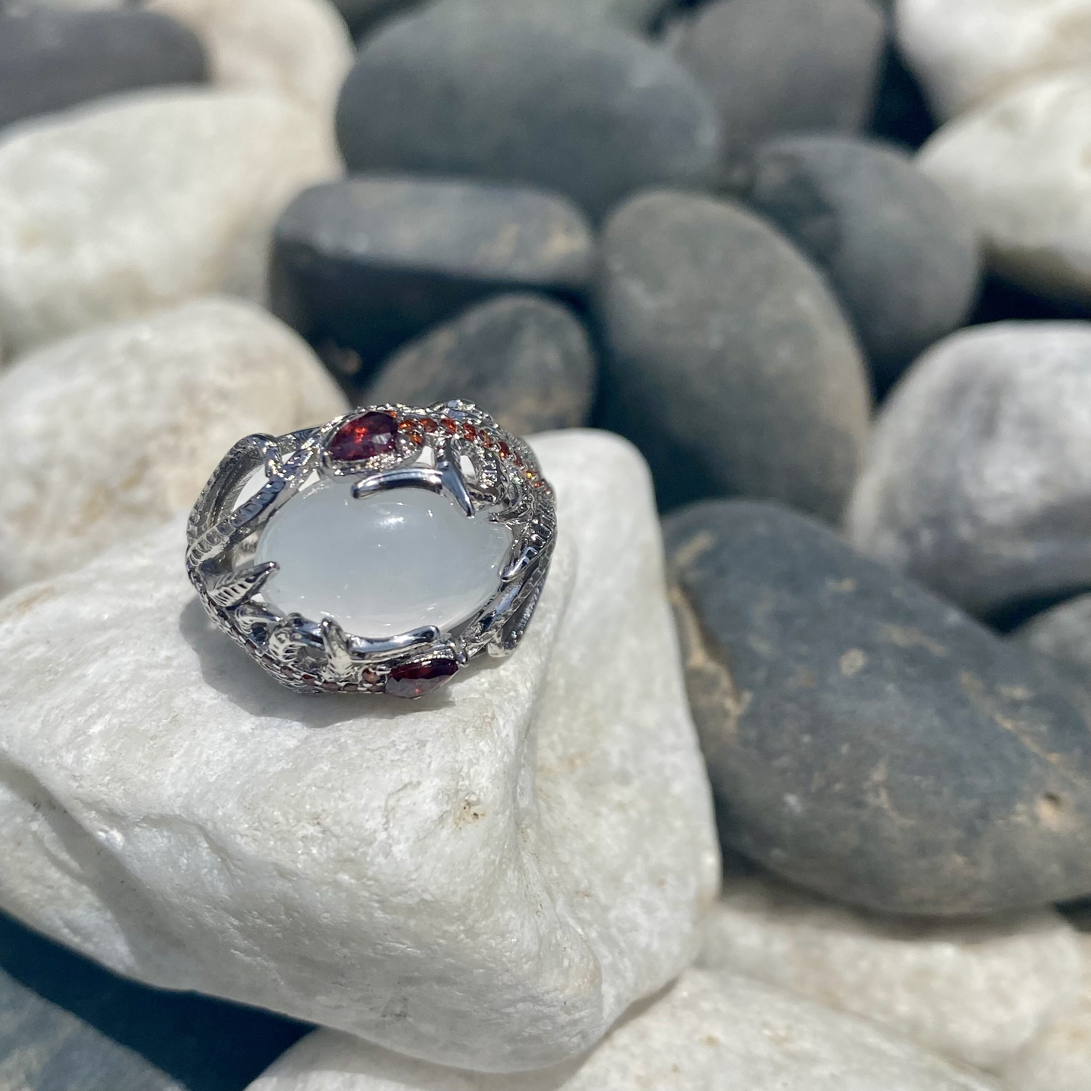 The moonstone and Rubies ring