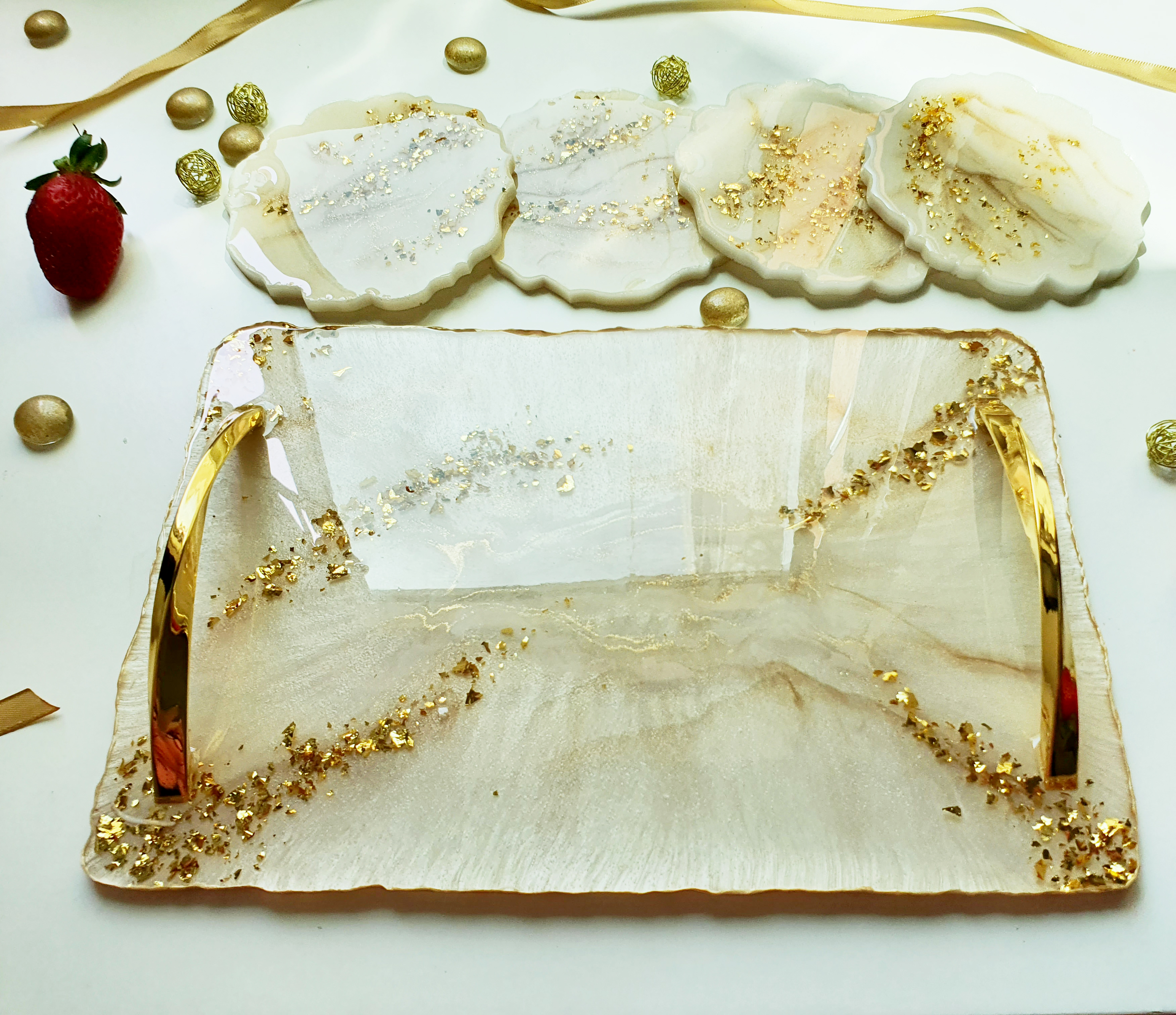 Handmade Pearl White and Gold Tray Set
