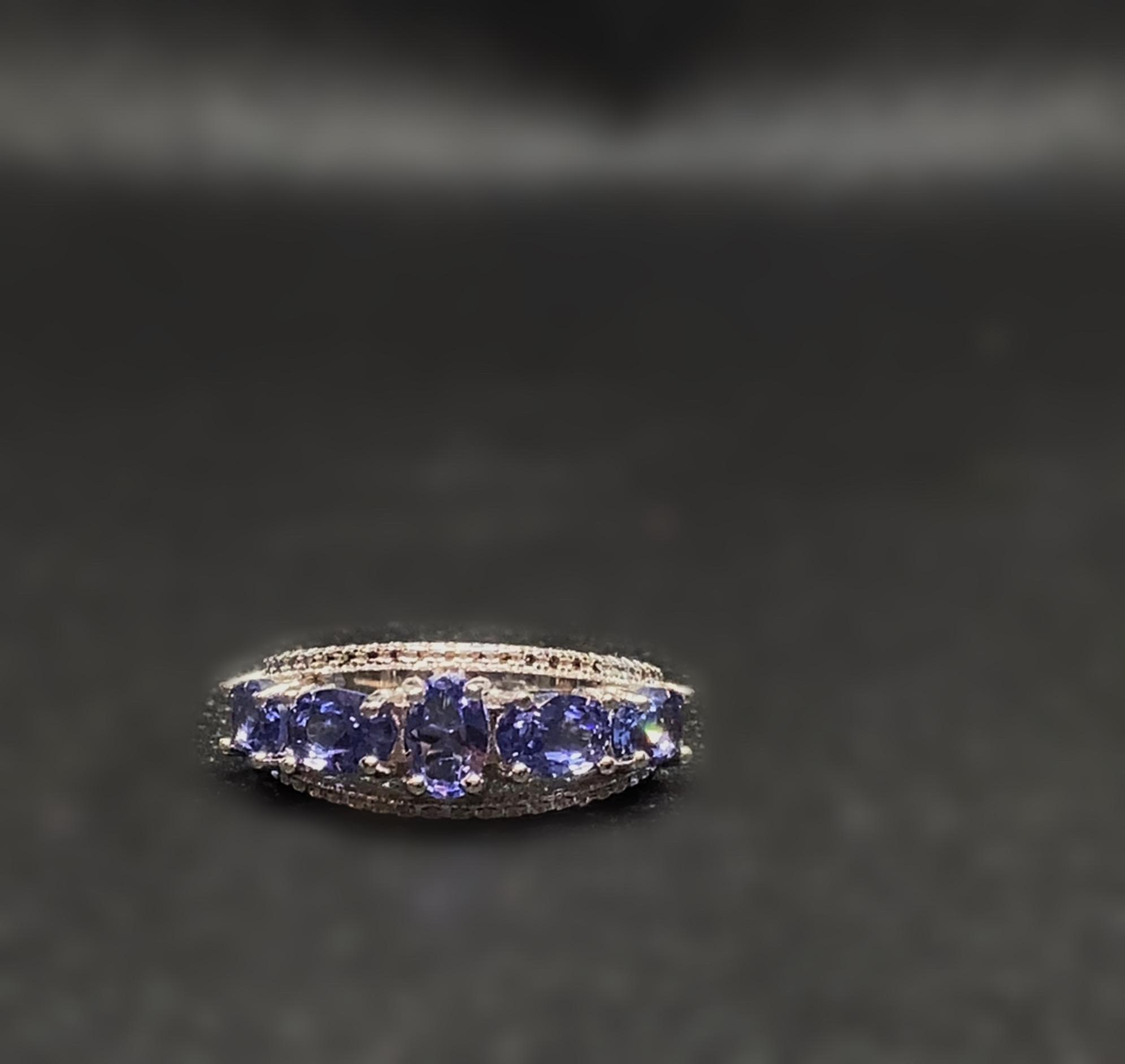 Purple Tanzanite Silver Ring