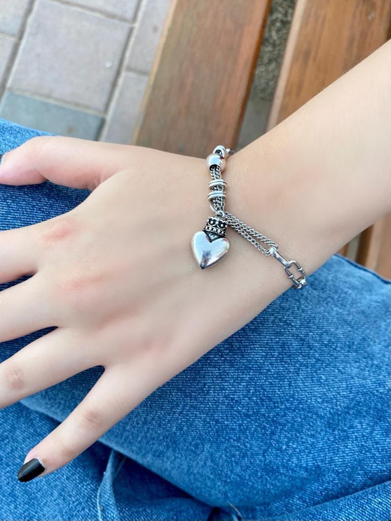 The silver heart bracelet