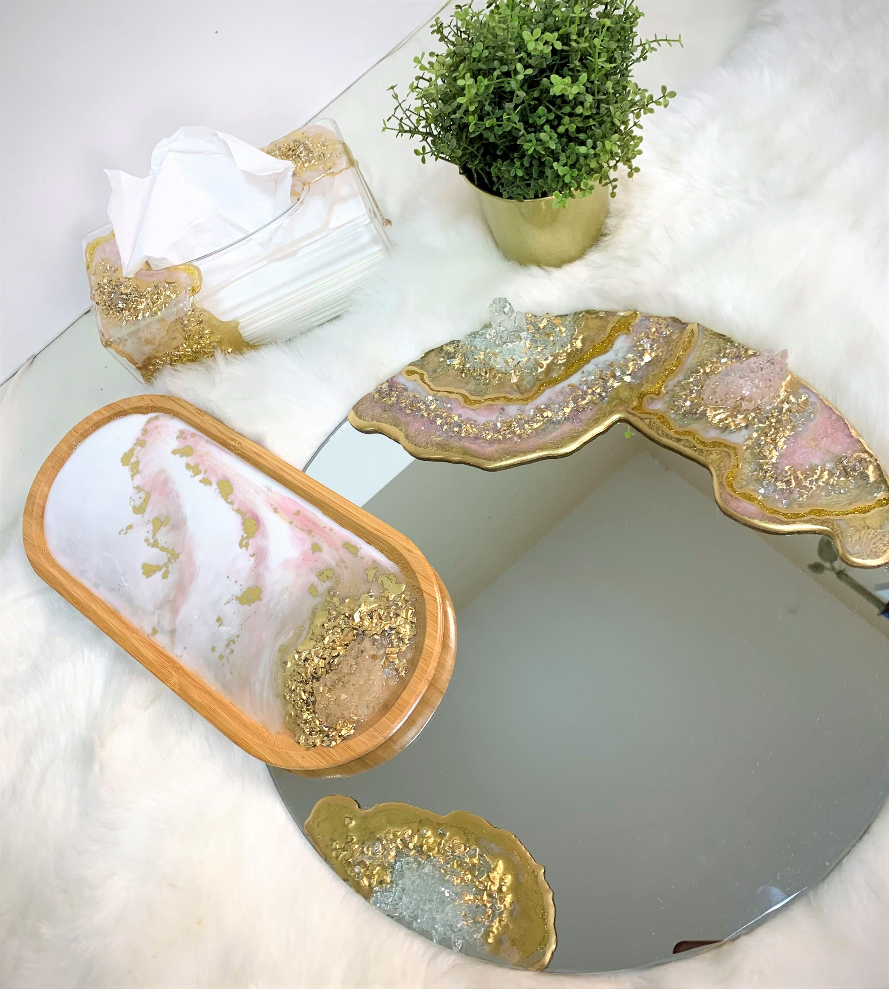 Geode Style 2 pcs Resin Set ( tissue box + plate)