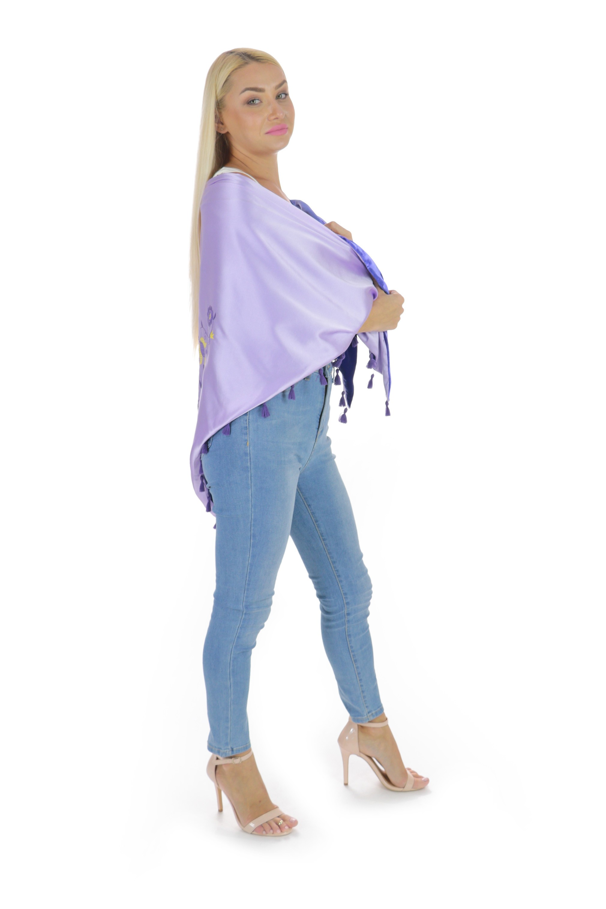 2-Sides Violet Silk and Velour Scarves with Embroidery