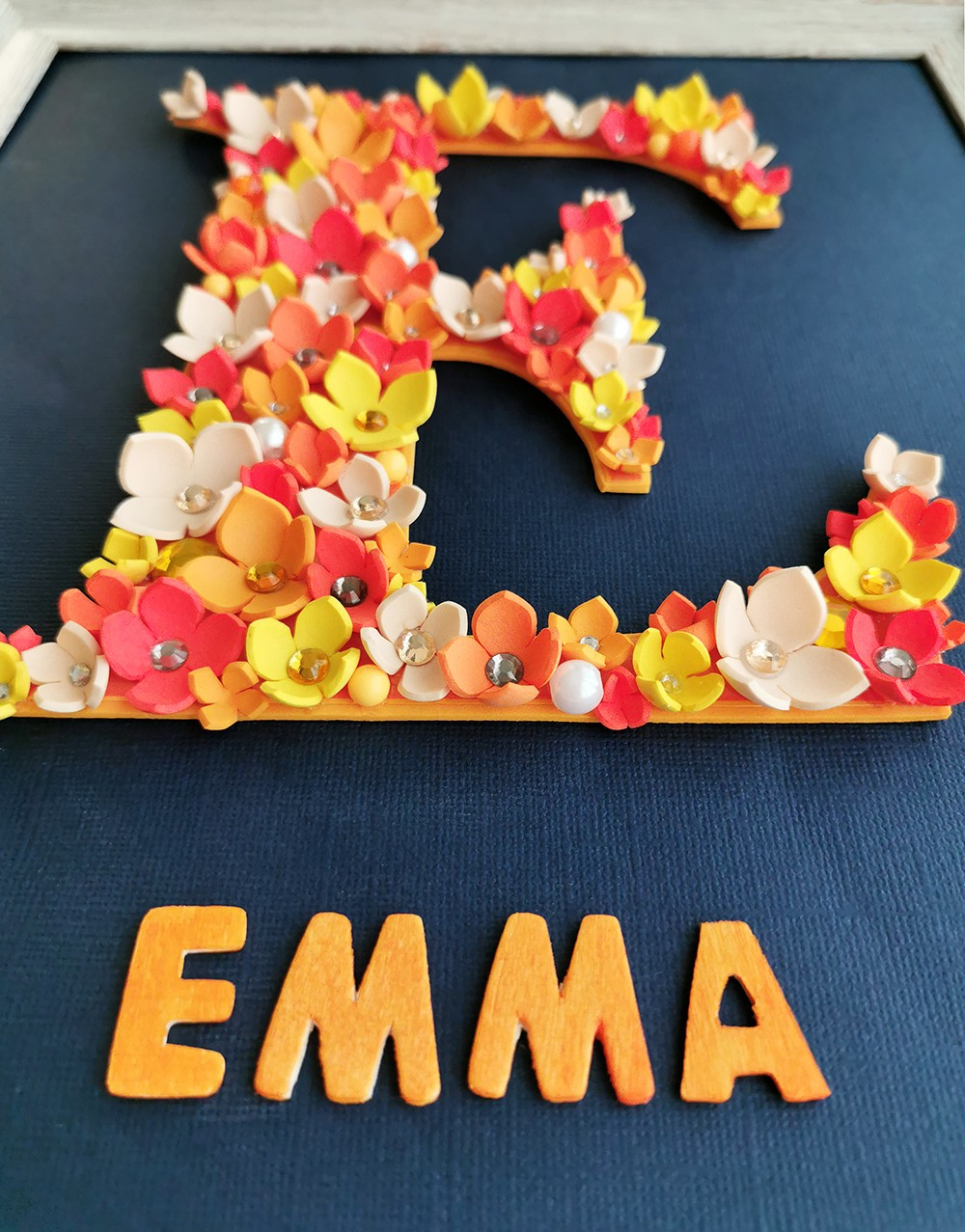 Flower Letter Personalized Frame - Girls Bedroom Décor (Large)