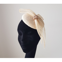 Ladies Cream Pillbox Hat