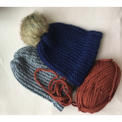 Knitted Winter Caps with Faux Fur Pom-Poms