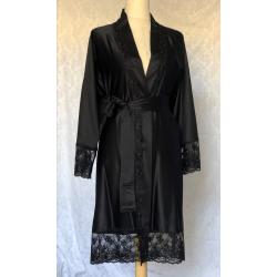 Black satin Lounge/Night Robe