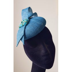Teal Button Hat with Double Bow