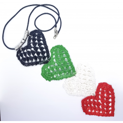 UAE National Day Flag Colors Crochet Hearts Necklace