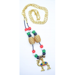 UAE National Day Flag Colors and Gold Plated Camel Necklace