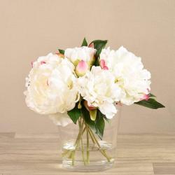 White Peony Arrangement in Glass Vase