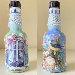 Spring Decoupage Upcycled Bottle