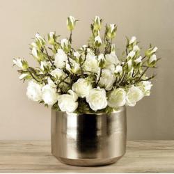 White Rose Arrangement In Silver Vase