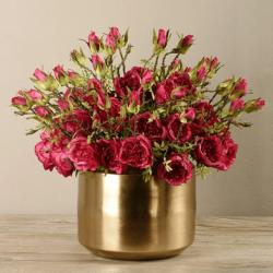 Red Rose Arrangement In Gold Vase