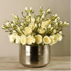 Yellow Rose Arrangement In Silver Vase