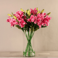 Pink Artificial Lily Arrangement in Glass Vase