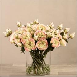 Green Rose Arrangement In Glass Vase