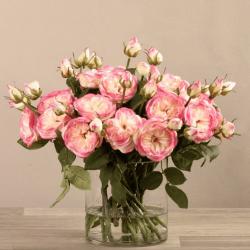 Lite Pink Rose Arrangement In Glass Vase