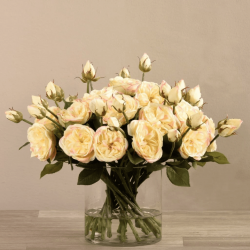 Yellow Rose Arrangement In Glass Vase