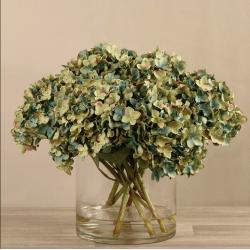 Lite Green Artificial Hydrangea in Glass Vase