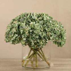 Green Artificial Hydrangea in Glass Vase