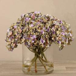 Purple Artificial Hydrangea in Glass Vase