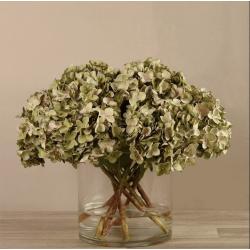 Dark Green Artificial Hydrangea in Glass Vase