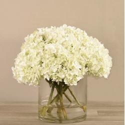 White Artificial Hydrangea in Glass Vase