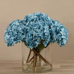 Blue Artificial Hydrangea in Glass Vase