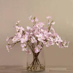 Pink Artificial Dogwood Arrangement in Glass Vase