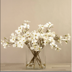 White Artificial Dogwood Arrangement in Glass Vase