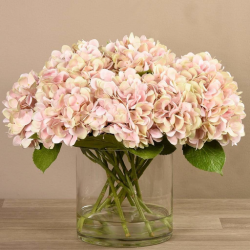 Pink Artificial Hydrangea in Glass Vase