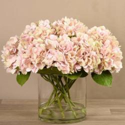Pink Artificial Hydrangea in Glass Vase
