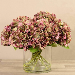 Lite Purple Artificial Hydrangea in Glass Vase