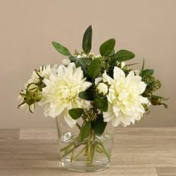 White Dahlia Arrangement in Glass Vase