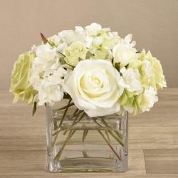 Mixed White Flower Arrangement in Glass Vase
