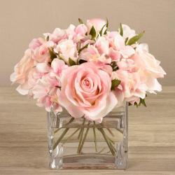 Mixed Pink Flower Arrangement in Glass Vase