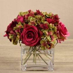 Mixed Red Flower Arrangement in Glass Vase