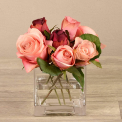 Mixed Pink Rose Arrangement in Glass Vase